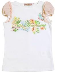 Miss Blumarine Rhinestone Embellished Cotton T Shirt
