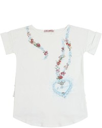 Miss Blumarine Ruffle Embellished Cotton T Shirt