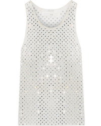 Marc Jacobs Crystal Embellished Silk Georgette Tank White
