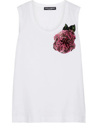Dolce & Gabbana Sequin Embellished Cotton Jersey Tank White