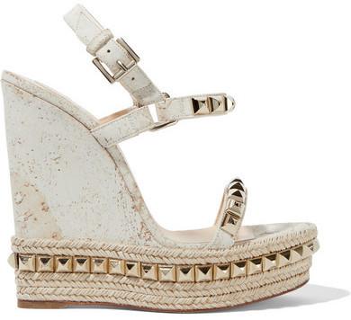 1eb16605437 $795, Christian Louboutin Cataclou 140 Embellished Cork Wedge Sandals Off  White