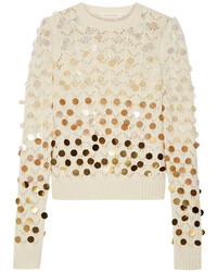 Marc Jacobs Sequin Embellished Wool And Cashmere Blend Sweater Ivory