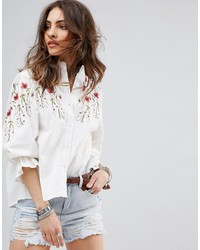 Boohoo Embroidered Blouse With Balloon Sleeves