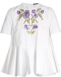 Alexander McQueen Embroidered Cotton Piqu Blouse