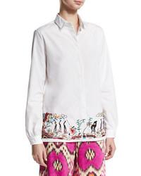 Etro Embroidered Hem Cotton Blouse White