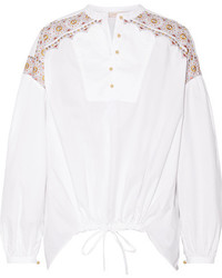 Tory Burch Jayne Embroidered Cotton Poplin Blouse White