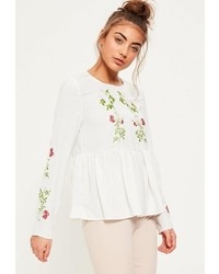 Missguided White Embroidered Frill Hem Blouse