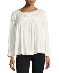 Current/Elliott The Peasant Long Sleeve Embroidered Cotton Top