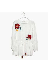 Madewell Embroidered Babydoll Button Down Shirt