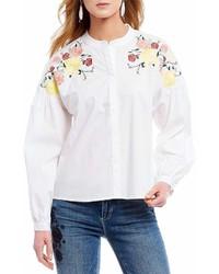 CeCe Embroidered Novelty Shirting Yoke Button Down Shirt