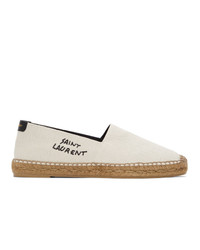 Saint Laurent Off White Embroidered Espadrilles