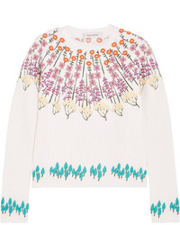 Valentino Embroidered Wool Blend Sweater Ecru
