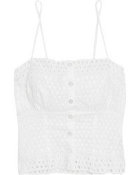 Hanky Panky Eyelet Broderie Anglaise Trimmed Embroidered Chiffon Camisole White