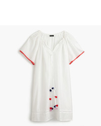 J.Crew Embroidered Linen Cotton Pom Pom Cover Up