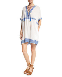 Vitamin A Isabell Lace Up Embroidered Short Caftan Coverup White