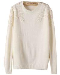 Black embroidered flower sweater medium 132667