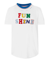 Mira Mikati Appliqud Cotton And Jersey T Shirt