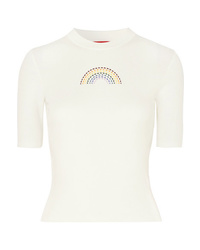 Staud Public Embroidered Ribbed Cotton T Shirt