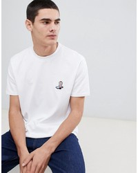 Calvin Klein Relax Fit T Shirt With Embroidered Boot Logo White