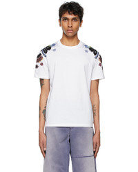 Valentino White Embroidered Flower T Shirt