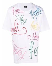 Fendi X Noel Fielding Logo Embroidered Short Sleeve T Shirt