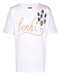 Fendi X Noel Fielding Logo Embroidered T Shirt