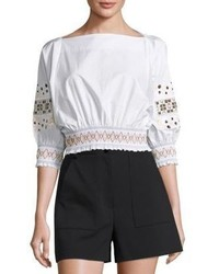 Tibi Cora Embroidered Cotton Cropped Top