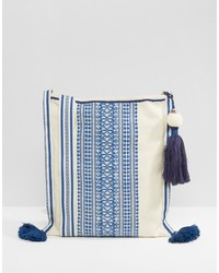 Star mela crossbody bag in off white with blue embroidery tassel medium 3666015
