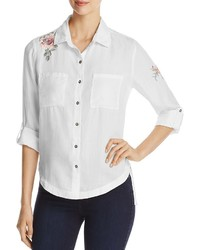 Billy T Floral Embroidered Roll Sleeve Shirt