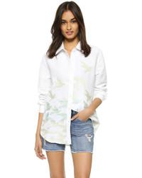 Birds embroidered button down blouse medium 748884