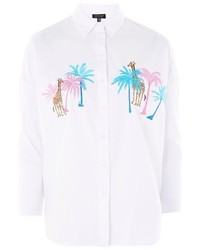 Topshop Palm Giraffe Embroidered Shirt