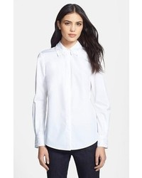Tory Burch Murphy Embroidered Cotton Shirt White White 10