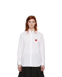 Comme Des Garcons Play White Fit Heart Patch Shirt