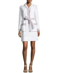 Tory Burch Jayne Long Sleeve Embroidered Belted Tunic Dress