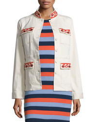 Tory Burch Dayton Embroidered Jacket New Ivory