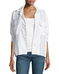 The embroidered army shirt jacket white medium 650659