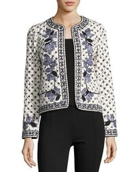 Tory Burch Tilda Embroidered Fish Print Jacket Ivory