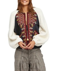 Two faced embroidered mixed media jacket medium 4423358