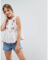 Asos Sleeveless Blouse With Lace Trim And Embroidery
