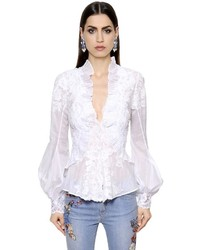 Ermanno Scervino Lace Embroidered Cotton Voile Shirt