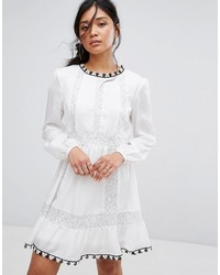 Boohoo Lace Insert Embroidered Swing Dress