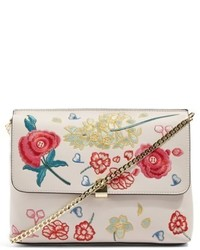 Topshop Floral Embroidered Faux Leather Crossbody Bag Ivory
