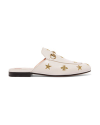 Gucci Princetown Horsebit Detailed Embroidered Leather Slippers