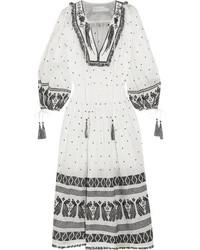 Divinity tassel trimmed embroidered linen midi dress white medium 3700937