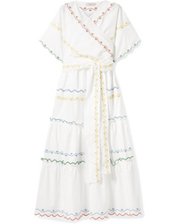 Tory Burch Tiered Embroidered Cotton Poplin Wrap Maxi Dress