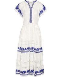 Crochet trimmed embroidered cotton gauze midi dress ivory medium 4394045