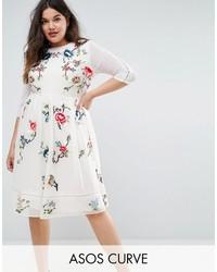 Curve curve premium midi skater dress with floral embroidery medium 4420775