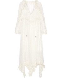 Divinity lace trimmed embroidered silk georgette midi dress ivory medium 3731826
