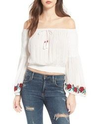 Band of Gypsies Embroidered Off The Shoulder Crop Top