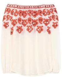 Tory Burch Leyla Off The Shoulder Embroidered Silk Blouse